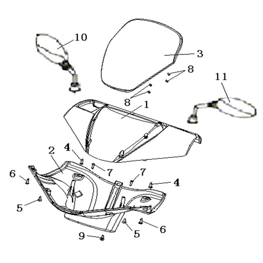 Eclate pieces detachees couvre guidon retroviseurs scooter