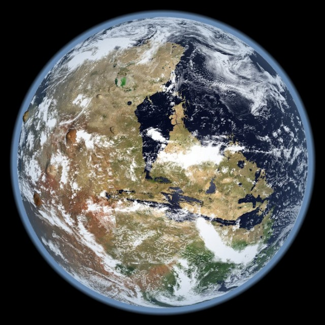 An artist's concept of Mars' west hemisphere, billions of years ago, when it still had its oceans and atmosphere