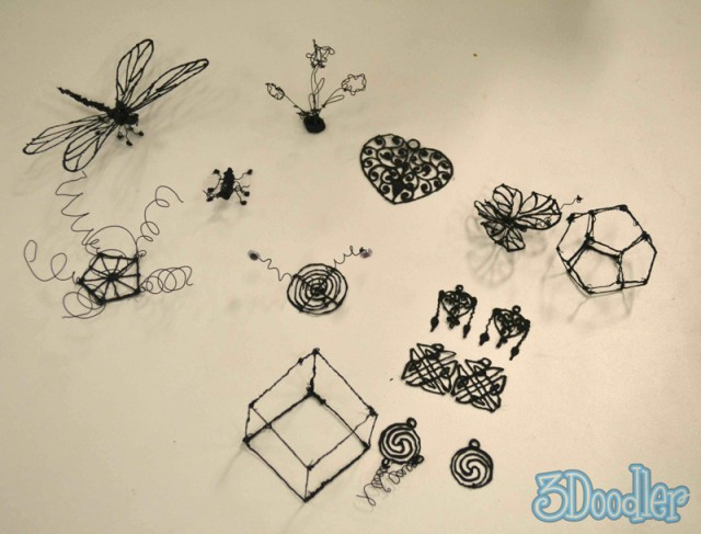 A collection of 3Doodler objects