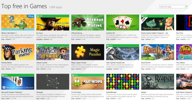 Windows 8.1 Store, category view