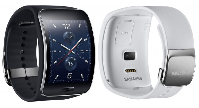 Samsung Gear S smartwatch, white and black, front and back
