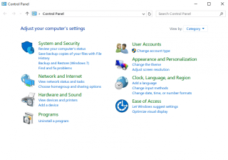 Control Panel Windows 10