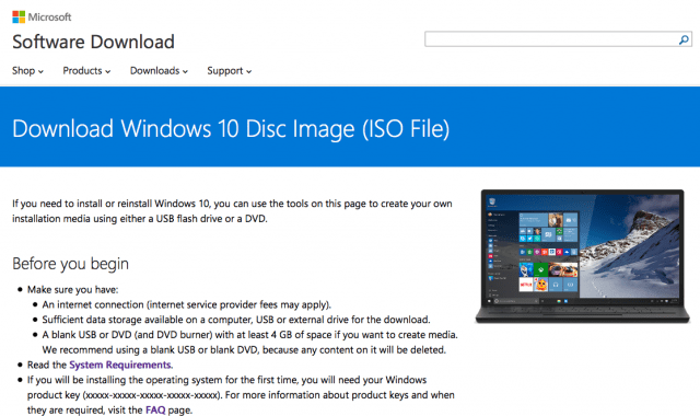 Windows 10 ISO Page