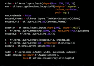 This is all the code needed to build a model that analyzes videos and answers questions