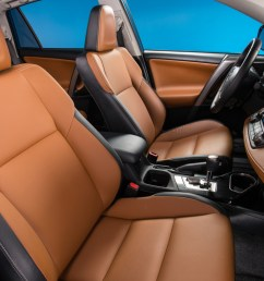 the 2018 toyota rav4 interior looks good in cinnamon entry models use fabric while upper models shown here use softex a vinyl leather substitute  [ 1344 x 756 Pixel ]