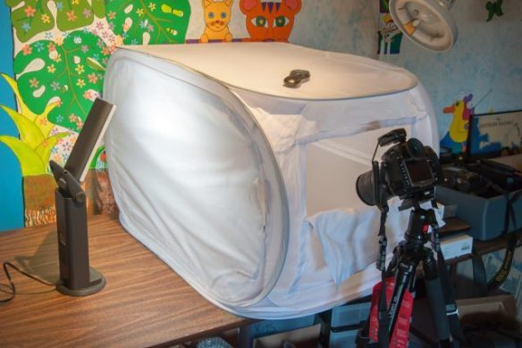 Depending on your job, you may need some specialized gear to work from home. Most of us at ET have some sort of mini-studio for doing product shots, like this Light Shed that I use.