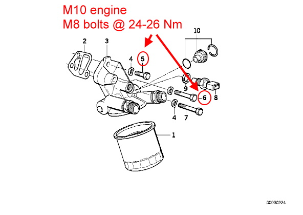 Torque for oil filter adapter and relief valve (M20B23)