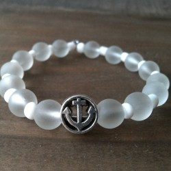 Handmade white anchor beaded bracelet