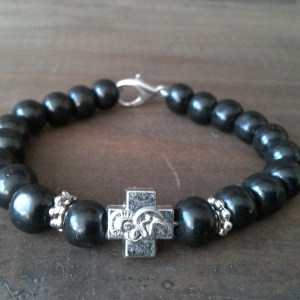 Handmade christian black prayer beads bracelet