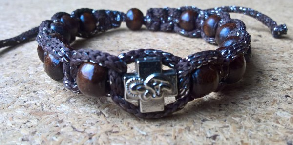 Handmade christian brown with silver ribbon prayer ropes, beads bracelet