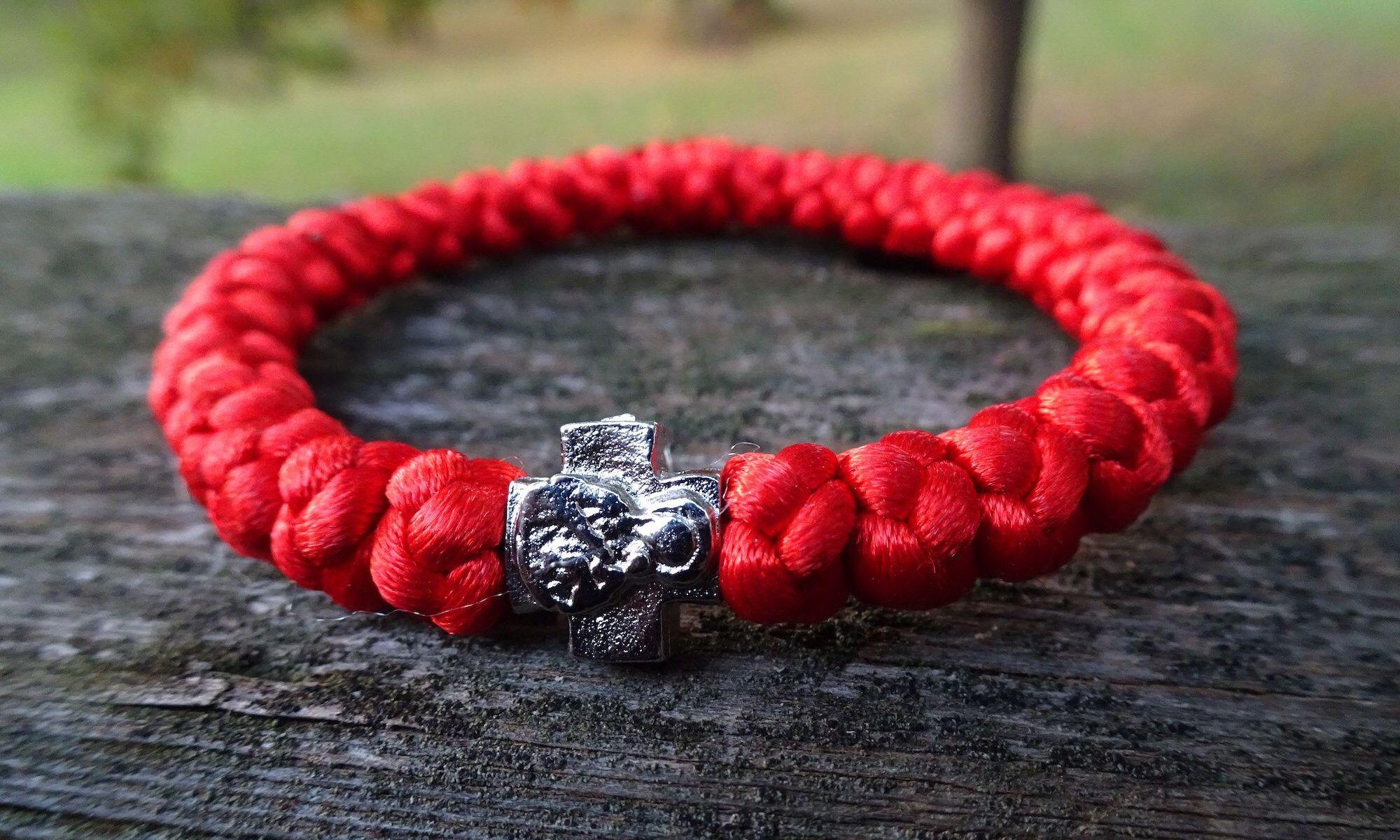 Handmade orthodox red prayer rope bracelet