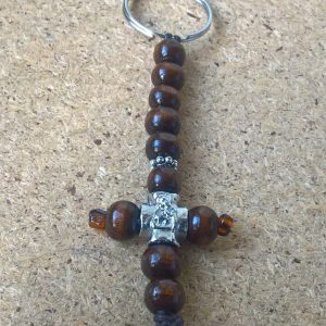 Handmade christian brown keychain