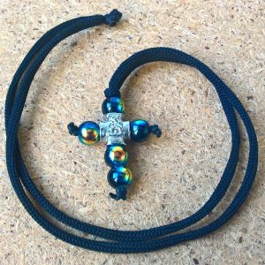 Handmade necklace with beaded cross pendant