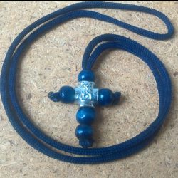Handmade necklace with blue navy wood cross pendant