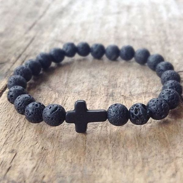 Handmade christian lava rock stone prayer beads bracelet, black cross