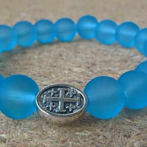 Handmade christian blue glass prayer beads bracelet