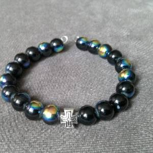 Handmade christian black glitter glass prayer beads bracelet
