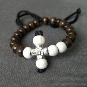 Handmade christian brown-beige prayer beads bracelet