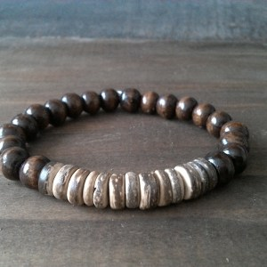 Handmade coconut bracelet with wood beads