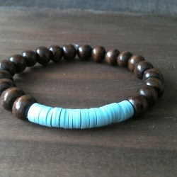 Handmade bracelet with polymer and wood beads