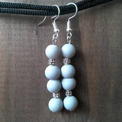 Handmade beaded earrings gray glass beads