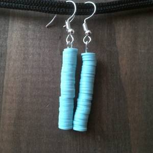 Handmade earrings, turquoise polymer clay beads