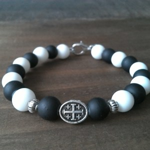 Handmade christian black-white prayer beads bracelet