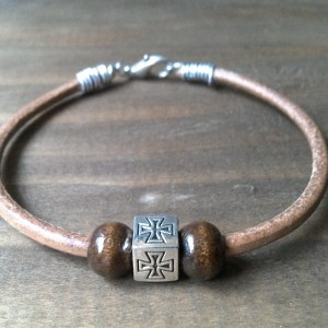 Handmade natural leather bracelet with cross
