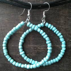 Handmade beaded earrings turquoise beads