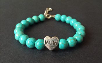 Handmade turquoise gamstone mum beaded bracelet