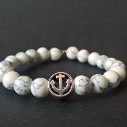 Handmade white howlite gamstone anchor beaded bracelet