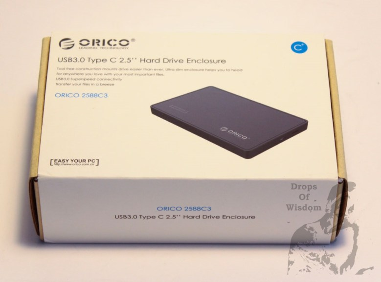 "orico,HDD,hard,drive,enclosure,2.5"",2588C3,review,portable,USB,Type-C,mechanical,3.0,cable,speed,read,write,box,top"