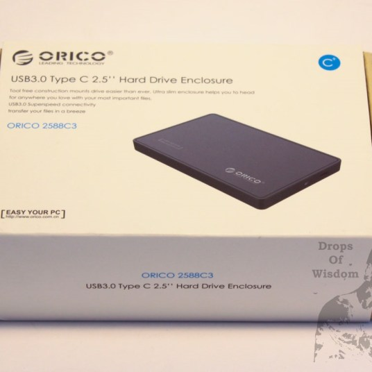 """orico,HDD,hard,drive,enclosure,2.5"""",2588C3,review,portable,USB,Type-C,mechanical,3.0,cable,speed,read,write,box,top"""
