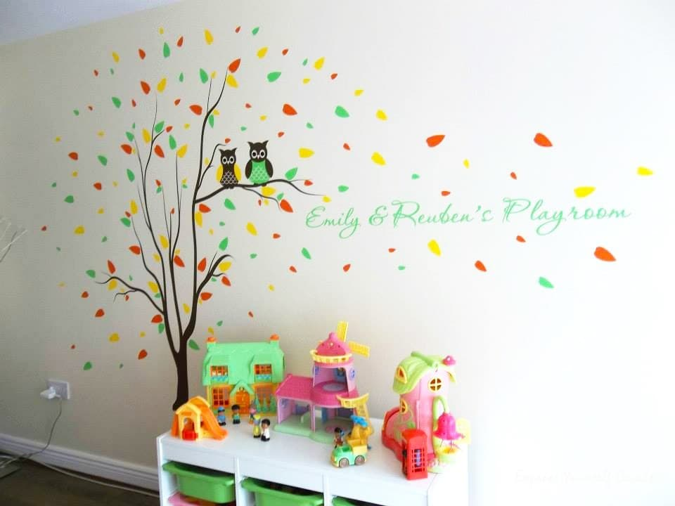 Playroom owl tree wall decal