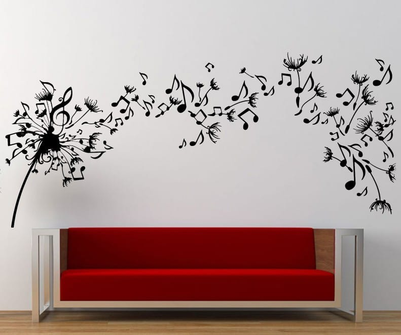 Music dandelion wall art decal