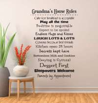 Grandmas house rules wall decal sticker