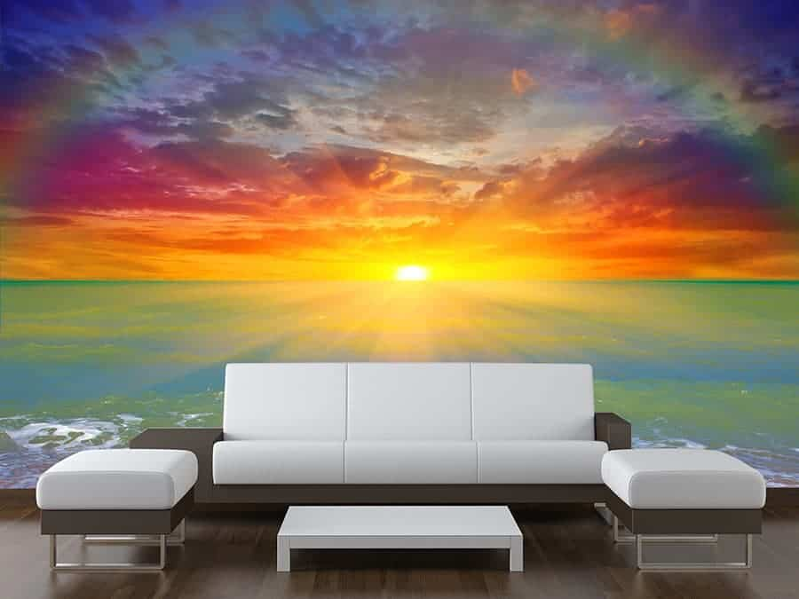 Tree With Quote About Family Wallpaper Sunset Rainbow Wall Mural Wall Murals