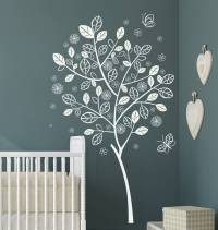Stylish Flower Butterfly Tree Wall Decal by Eydecals
