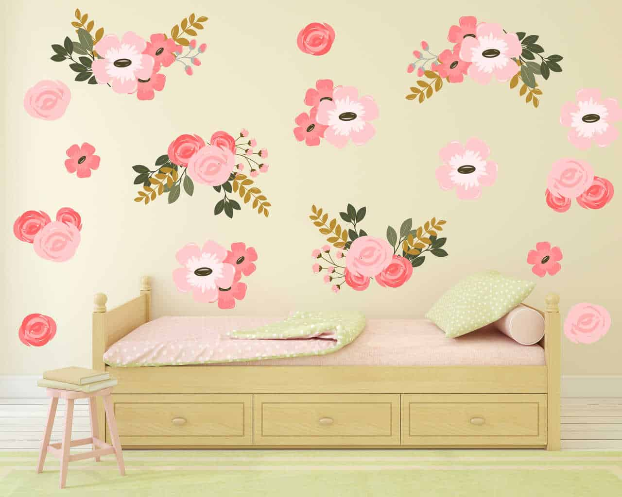 Pretty Pink Graphic Flower Wall Decal Set now available at