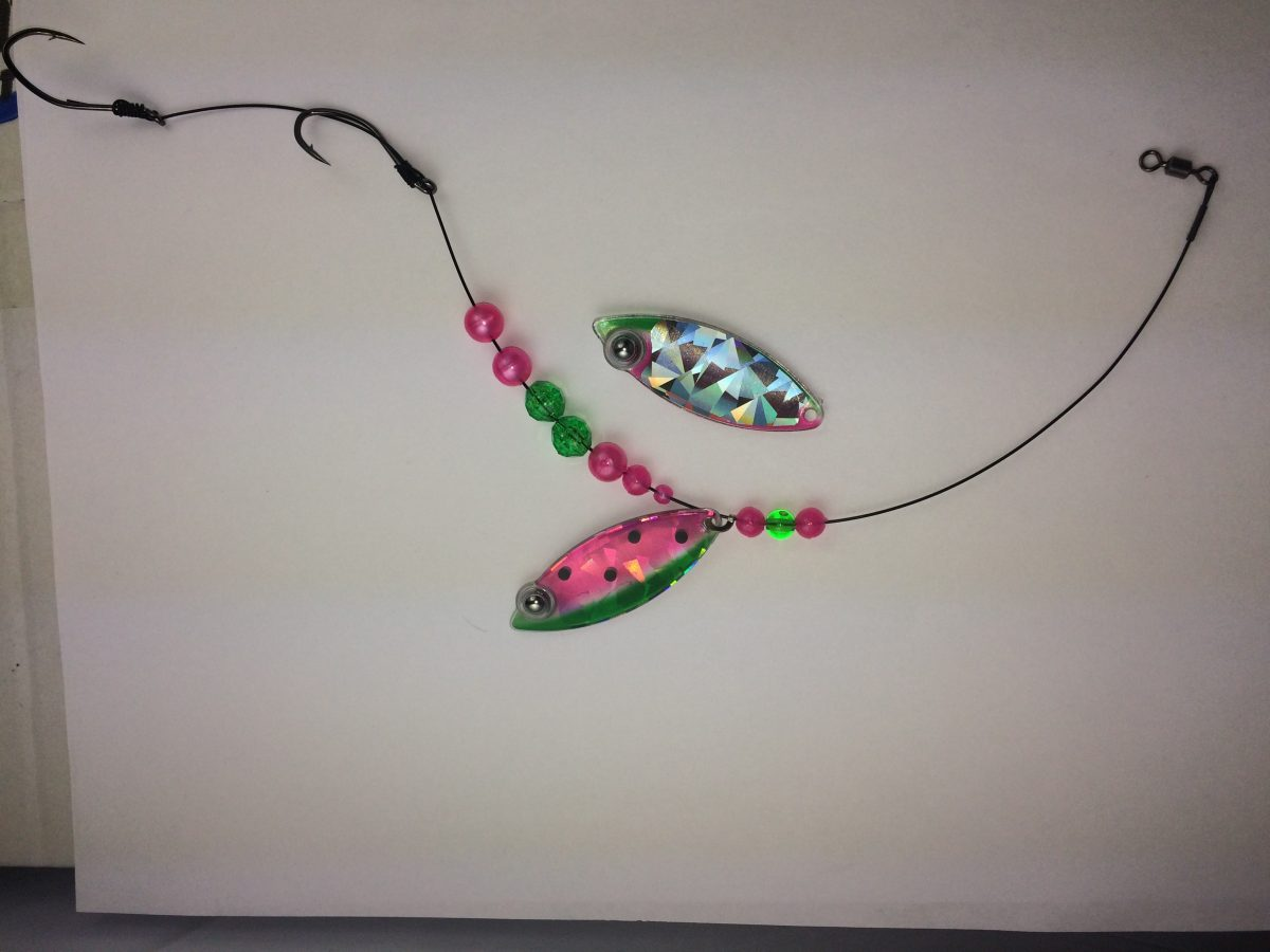Watermelon Single Blade Wire Harness With Shattered Glass Backing Hooks