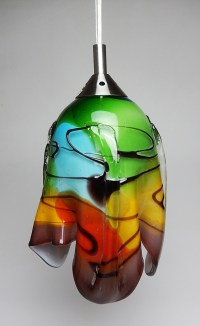 Mexican Glass Table lamp earth tones Hanging lamp red and ...