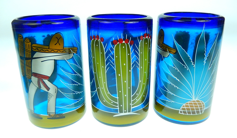 Mexican Glass Tumblers Hand Painted Cactus Made In