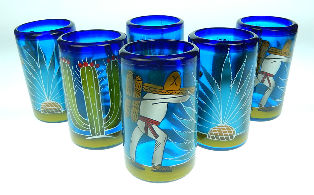 Mexican Glass Six Tumblers Hand Painted Cactus Made In