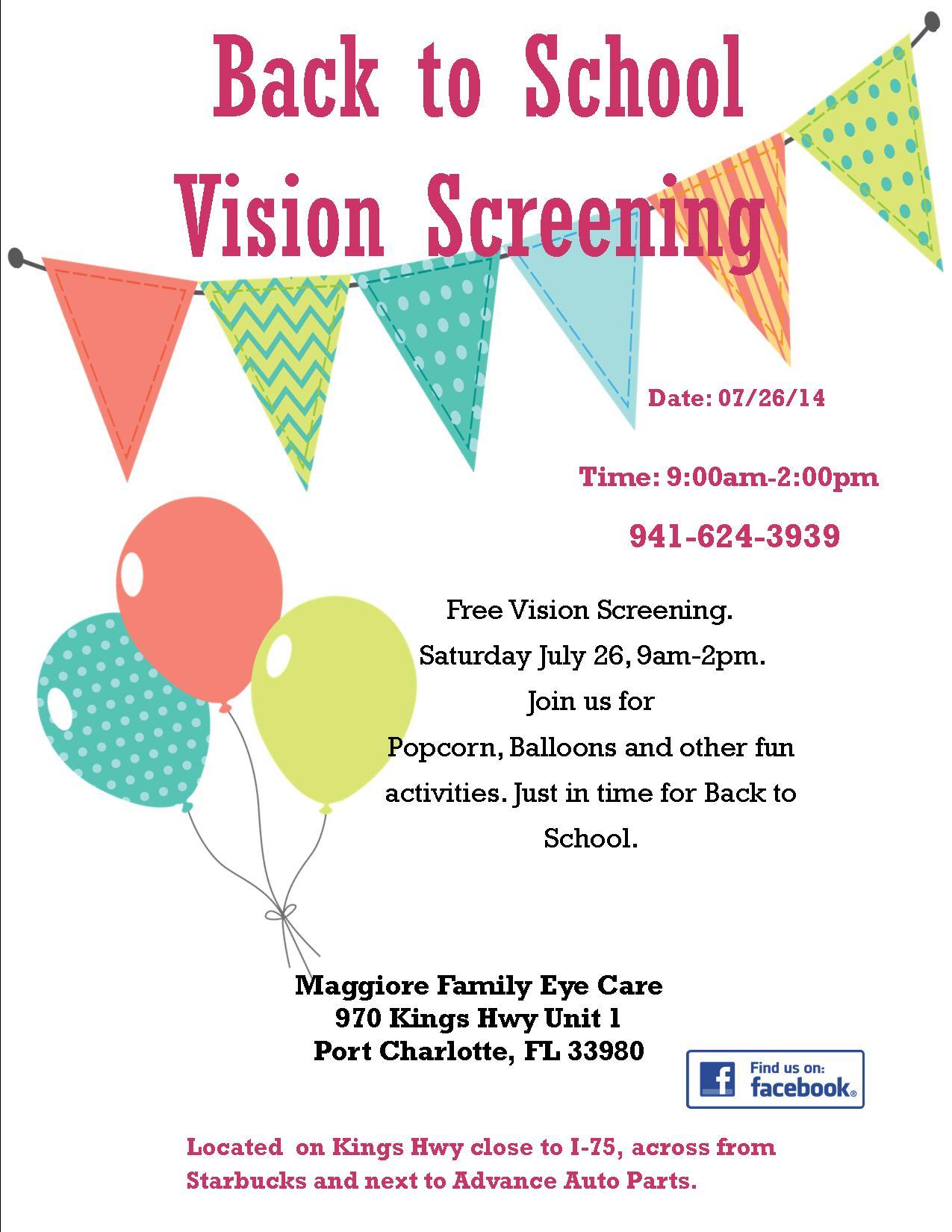 Back To School Vision Screening Port Charlotte Eye