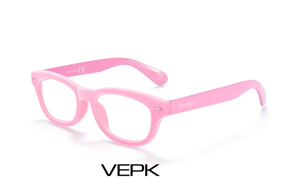 pink velvet reading glasses