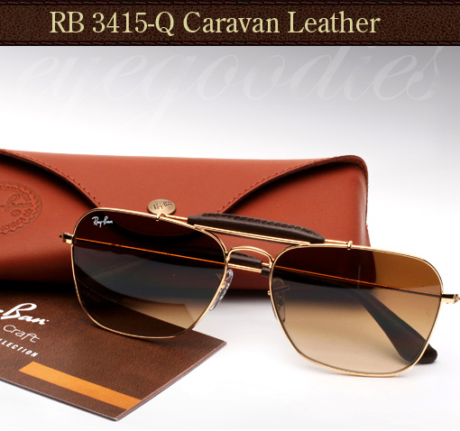 ray-ban leather caravan sunglasses