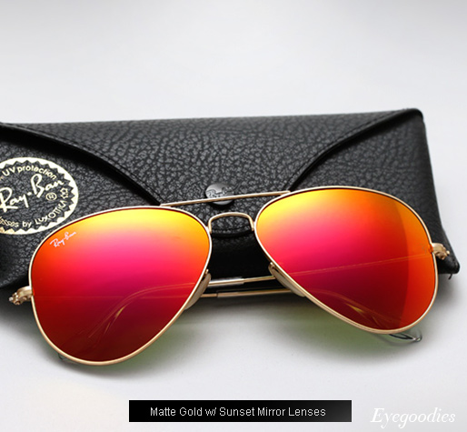 Ray Ban Aviator RB 3025 Colored Mirror sunglasses - Sunset