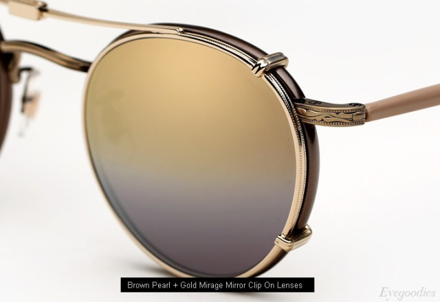 Garrett Leight Wilson eyeglasses - Brown Pearl with Clip