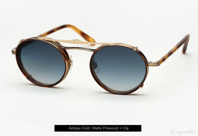 Garrett Leight Penmar eyeglasses - Matte Pinewood + Clip
