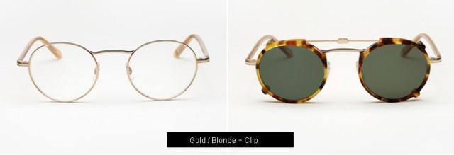 Garrett Leight Penmar eyeglasses - Gold/ Blonde+ Clip
